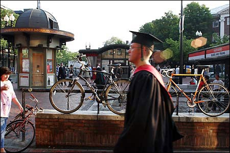Harvard Square with bikes, grads