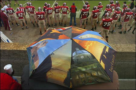 umbrellas and footballers