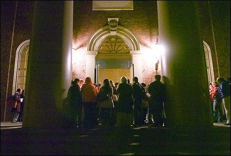 participants outside church