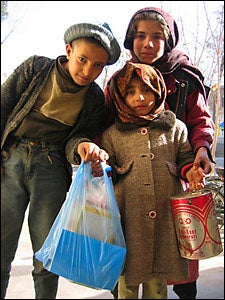 children with food packages