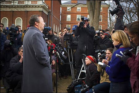 President Summers at news conference in Yard