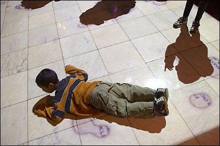 kids at installation