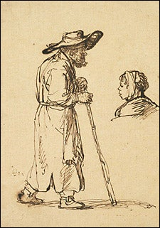 Rembrandt, Old Man with a Walking Stick