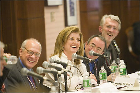 Alex Jones, Arianna Huffington, Michael Kinsley, and Jeff Jarvis