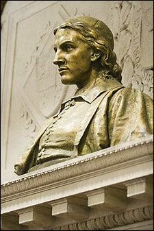 bust of John Harvard
