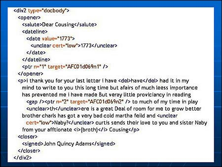 Adams letter marked up in XML