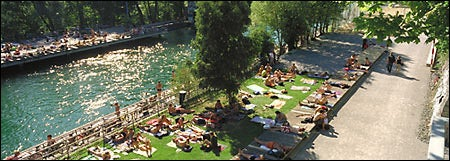 riverside sunbathers in Zurich