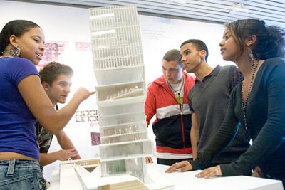 Oni Hinton (from left), Nick Ackers, Luke Henry-Powell, Callum Gilbert, and Yohanna Iyasu are part of a group of young U.K. students realizing their dreams at a six-week crash course in architecture at Harvard's Graduate School of Design.