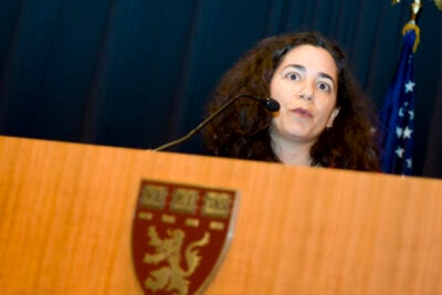 Harvard AIDS researcher Ingrid Bassett outlined several research efforts, including one evaluating the efficacy of separate voluntary counseling and testing clinics in South Africa.