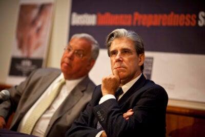 Harvard School of Public Health Dean Julio Frenk (right) and Boston Mayor Thomas M. Menino (left) joined forces at the Boston Influenza Preparedness Summit on Friday (Aug. 21).