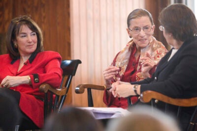 Among the participants in the Radcliffe conference on gender and law were Judge Nancy Gertner (from left), Supreme Court Justice Ruth Bader Ginsburg, and journalist Linda Greenhouse '68.