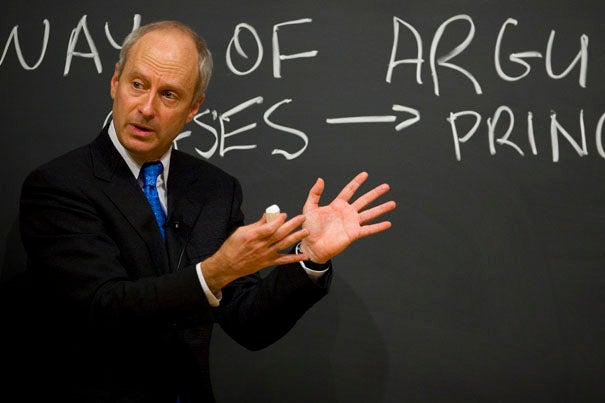 """(Cambridge, MA - September 17, 2007)    Hundreds of students pack Harvard University's Sanders Theater for Michael Sandel's """"Justice"""" course— Moral Reasoning 22 an introduction to moral and political philosophy. Staff Photo Justin Ide/Harvard University News Office"""
