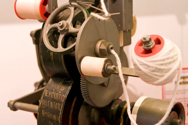 A model for knitting machine improvements, patented in 1875 by Edward P. Curtiss. 'Patent Republic: Materialities of Intellectual Property in 19th-Century America' presents patent models for common inventions such as washing machines, carpet sweepers, and ice skates, as well as Thomas Edison's carbonizer. The exhibit is on view through Dec. 11 at the Science Center, 1 Oxford St. Open weekdays, 9 a.m.-5 p.m.