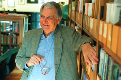 E.O. Wilson (pictured) will share the stage with James D. Watson on Sept. 9. 'Looking Back, Looking Forward: A Conversation with James D. Watson and Edward O. Wilson' is being presented by the Harvard Museum of Natural History.