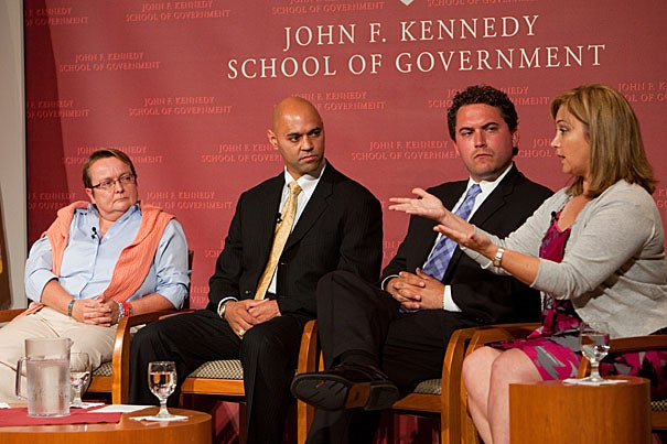 Kennedy School graduates share their inspiring stories of public service during a panel discussion titled 'Ask What You Can Do.' The panel included Wivina Belmonte, M.P.A. '09 (left), Ray Jefferson, M.P.A. '98, Cody Keenan, M.P.P. '08, and Margita Thompson, M.P.P. '96.