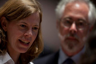 """Gen Ed was extolled and explained this week (Sept. 3) at a Lowell Lecture Hall forum. The Task Force on General Education was co-chaired by Professors Alison Simmons (left) and Louis Menand. """"We don't think a liberal arts education is a break from real life. It's a bridge to real life,"""" said Simmons."""
