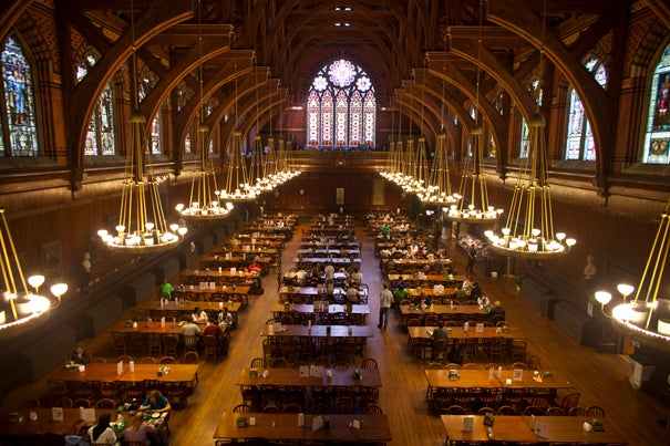 Named in memory of Roger Annenberg '62 and inspired by the great halls of Oxford and Cambridge universities, Annenberg Hall is one of the most impressive spaces at Harvard.