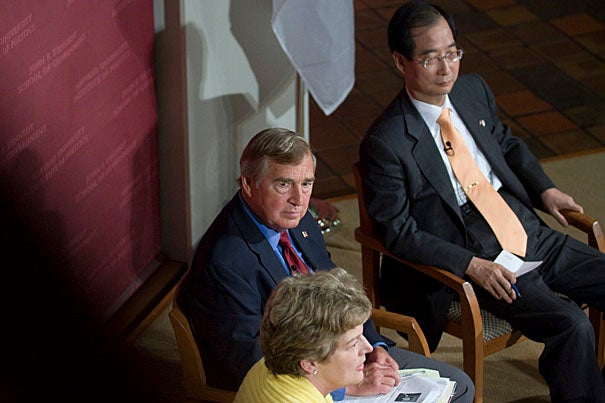 In a rare double ambassadorial appearance to Harvard, Kathleen Stephens (left) of the United States and Han Duck-soo (far right) of South Korea reflect on the U.S.-South Korea alliance, and what might put it at risk. The event was moderated by Graham Allison (center).