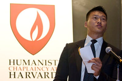 Lt. Dan Choi, who faces discipline from the military after coming out as a gay man, received the first Service to Humanity award from the Harvard Humanist Chaplaincy. In a dramatic gesture, Choi burned his discharge letter at the podium during the award ceremony.
