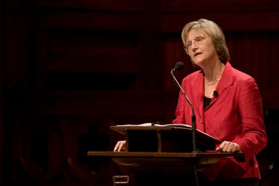 """While much of the world's focus is so often on near-term results, we have a distinctive opportunity to take the long view — to see the issues of the moment in the light of history, and with eyes on a horizon beyond tomorrow's headlines,"" President Drew Faust told the Sanders Theatre audience during her address to the Harvard community."