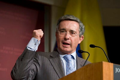 "During his talk at the Harvard Kennedy School, Álvaro Uribe, president of the Republic of Colombia, said his administration had enhanced a key component of Colombia's progress: confidence.  He called for more investment, greater social cohesion, and ""security with democratic values"" to continue building this confidence."