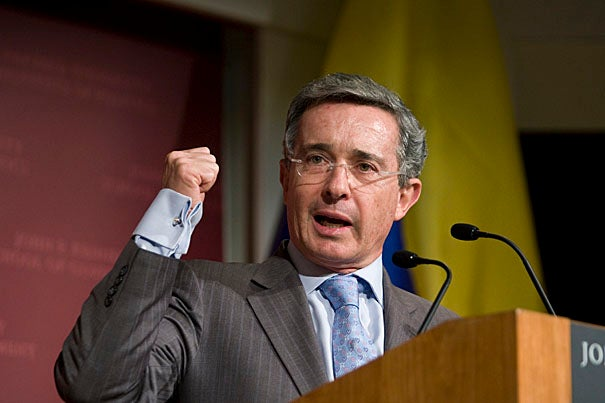 """During his talk at the Harvard Kennedy School, Álvaro Uribe, president of the Republic of Colombia, said his administration had enhanced a key component of Colombia's progress: confidence.  He called for more investment, greater social cohesion, and """"security with democratic values"""" to continue building this confidence."""