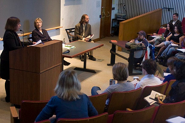 Emily Click (standing), the Divinity School's assistant dean for ministry studies and 