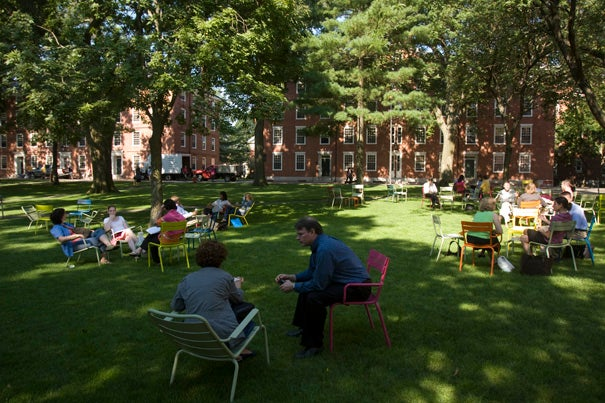 The Holworthy Hall green is peppered with colorful chairs that are part of a new initiative by the Committee on Common Spaces. In combination with the chairs, art performances will take place across campus, turning green spaces into stages.