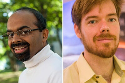 "Two Harvard faculty members have been named recipients of prestigious MacArthur Foundation ""genius"" grants. Lola England de Valpine Professor of Applied Mathematics Lakshminarayanan Mahadevan (left) and Assistant Professor of Earth and Planetary Sciences Peter Huybers will both receive a no-strings-attached grant of $500,000."