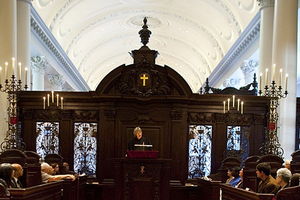 Following a tradition dating back at least to the 19th century, Harvard President Drew Faust spoke at the academic year's first Morning Prayers service in Appleton Chapel.