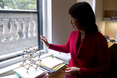 Evelyn Hu, Gordon McKay Professor of Applied Physics and Electrical Engineering, shows a  model of gallium arsenide. Hu has joined Harvard's School of Engineering and Applied Sciences after spending 25 years at the University of California, Santa Barbara.