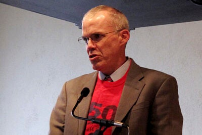 "Bill McKibben '82 has founded 350.org, a worldwide action group that this weekend (Oct. 23-25) will promote demonstrations on every continent. McKibben was at Harvard's Memorial Church for a 90-minute ""climate convocation"" sponsored by 17 groups."