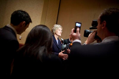 """Following the Greater Boston Chamber of Commerce Executive Forum, Harvard President Drew Faust continues to answer questions from the media. At the forum, Faust told the business leaders, """"... we must always make sure we are confronting the new questions requiring exploration; we simply do not have the luxury of turning back the clock or standing still."""""""