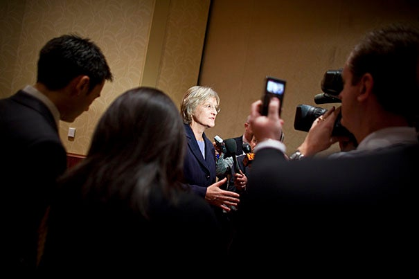 "Following the Greater Boston Chamber of Commerce Executive Forum, Harvard President Drew Faust continues to answer questions from the media. At the forum, Faust told the business leaders, ""... we must always make sure we are confronting the new questions requiring exploration; we simply do not have the luxury of turning back the clock or standing still."""