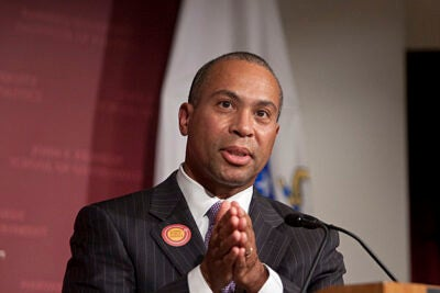 "Gov. Deval Patrick '78, J.D. '82, shared his experience in both public service and the public spotlight during a forum at the Harvard Kennedy School. ""We need you to articulate what the world should look like and then to work with us, all of us, to make it so,"" he told his audience."