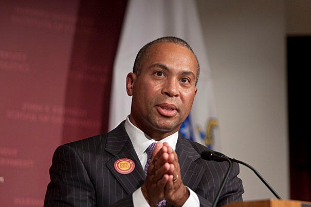 """Gov. Deval Patrick '78, J.D. '82, shared his experience in both public service and the public spotlight during a forum at the Harvard Kennedy School. """"We need you to articulate what the world should look like and then to work with us, all of us, to make it so,"""" he told his audience."""