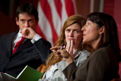 Carr Center Director Rory Stewart (left), the center's founding executive director Samantha Power, and its former director Sarah Sewall revisit the center's first decade. Power said that one of the most gratifying things about her work with the Carr Center is to see how questions that were being asked 10 years ago are no longer on the table.