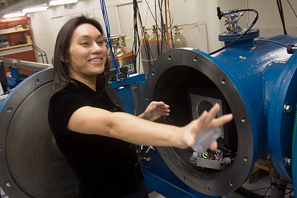 Professor Sarah Stewart-Mukhopadhyay fires this gun monthly in her quest to understand the massive collisions of meteors on icy surfaces, such as those occurring on several of Jupiter's moons.