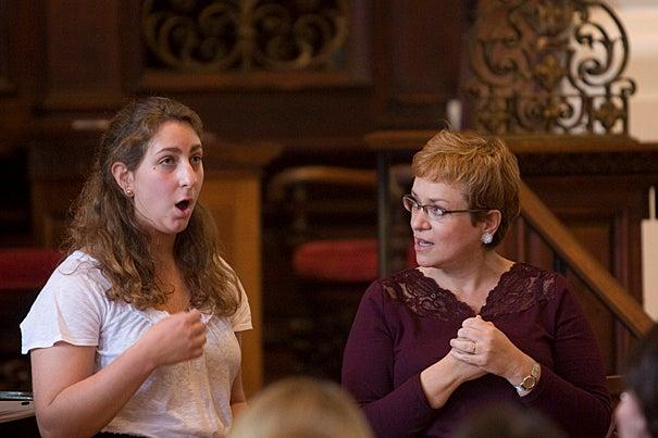Soprano Dominique Labelle (right) guides Sofia Selowsky '12 during the master class.