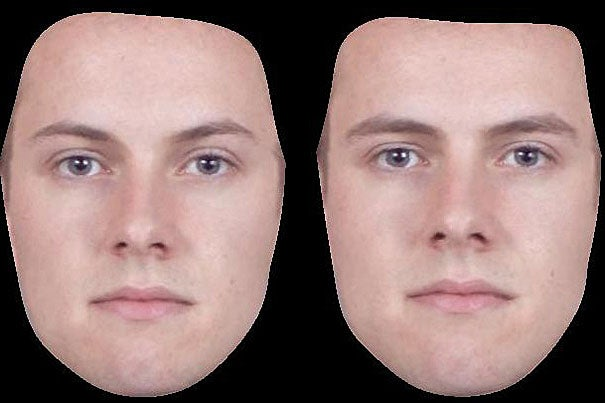 Examples of masculinized (right) and feminized (left) versions of a male face. A new study from a researcher at Harvard University finds that gay men are most attracted to the most masculine-faced men, while straight men prefer the most feminine-faced women.