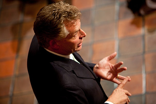 """Terry McAuliffe, a longtime Democratic Party operative, took the Kennedy School Forum stage as if by storm. After an hour, when questions from the audience petered out, McAuliffe, a visiting fellow this year at Harvard's Institute of Politics, seemed crestfallen. """"I thought we were going to go all night,"""" he said."""