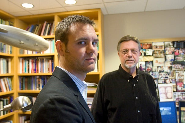 "Kurt Gray (left), a graduate student in psychology, and Daniel M. Wegner, professor of psychology, both in Harvard's Faculty of Arts and Sciences, conducted the research on torture. ""Our research suggests that torture may not uncover guilt so much as lead to its perception,"" said Gray"