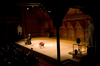 """Orhan Pamuk spoke to a large Sanders Theatre audience: """"Novels are fundamentally visual literary fictions."""" The final Norton Lecture is at 4 p.m. on Nov. 3 in Sanders Theatre."""