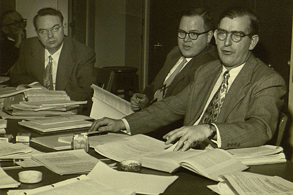 "William Cochran (right) reviewing Kinsey Report data with Harvard statistics legend Frederick Mosteller (far left) and Princeton University statistics scholar John Tukey, who is famous for saying of statisticians: ""We get to play in everybody's backyard."""