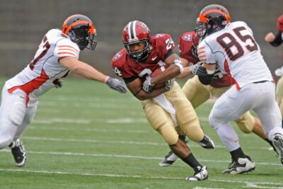 Harvard running back Treavor Scales '13, who is second on the team in rushing, will look to help the Crimson to their third consecutive Ivy League Championship.