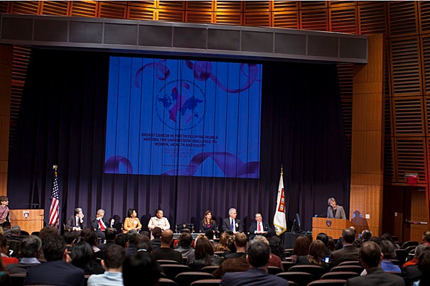 "A panel of experts, and those whose lives have been touched by cancer, shared the stage at a three-day international symposium titled ""Breast Cancer in the Developing World: Meeting the Unforeseen Challenge to Women, Health and Equity."" Speaking from the podium is Harvard President Drew Faust, who made opening remarks on the second day of the event (Nov. 4)."