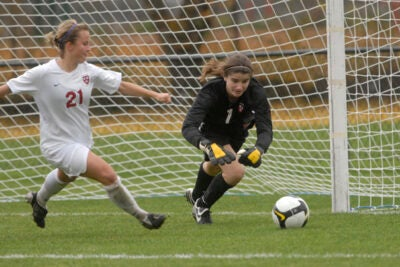 Crimson goalkeeper Lauren Mann '10 recorded 10 saves in Harvard's 1-0 loss to Boston College.