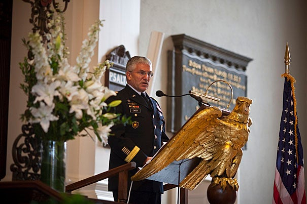 The guest of honor was Gen. George W. Casey Jr. (pictured), chief of staff of the U.S. Army. His father's name, Gen. George William Casey '45, appears on a bronze plaque on the north wall of the Memorial Church, honoring Harvard graduates who died in Vietnam.