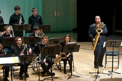 Fred Ho '79, the 2009 Harvard Arts Medalist, performs a tribute concert with the Harvard Jazz Bands at the New College Theatre.