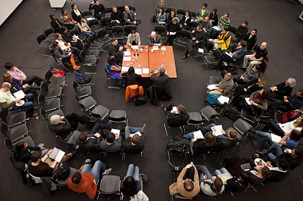"""The launch of the journal """"Landscapes of Energy"""" was held in the Harvard Graduate School of Design's Piper Auditorium and included a panel of designers and scholars."""
